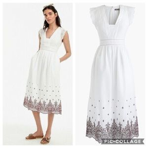 Point Sur Embroidered Flutter-Sleeve Midi Dress